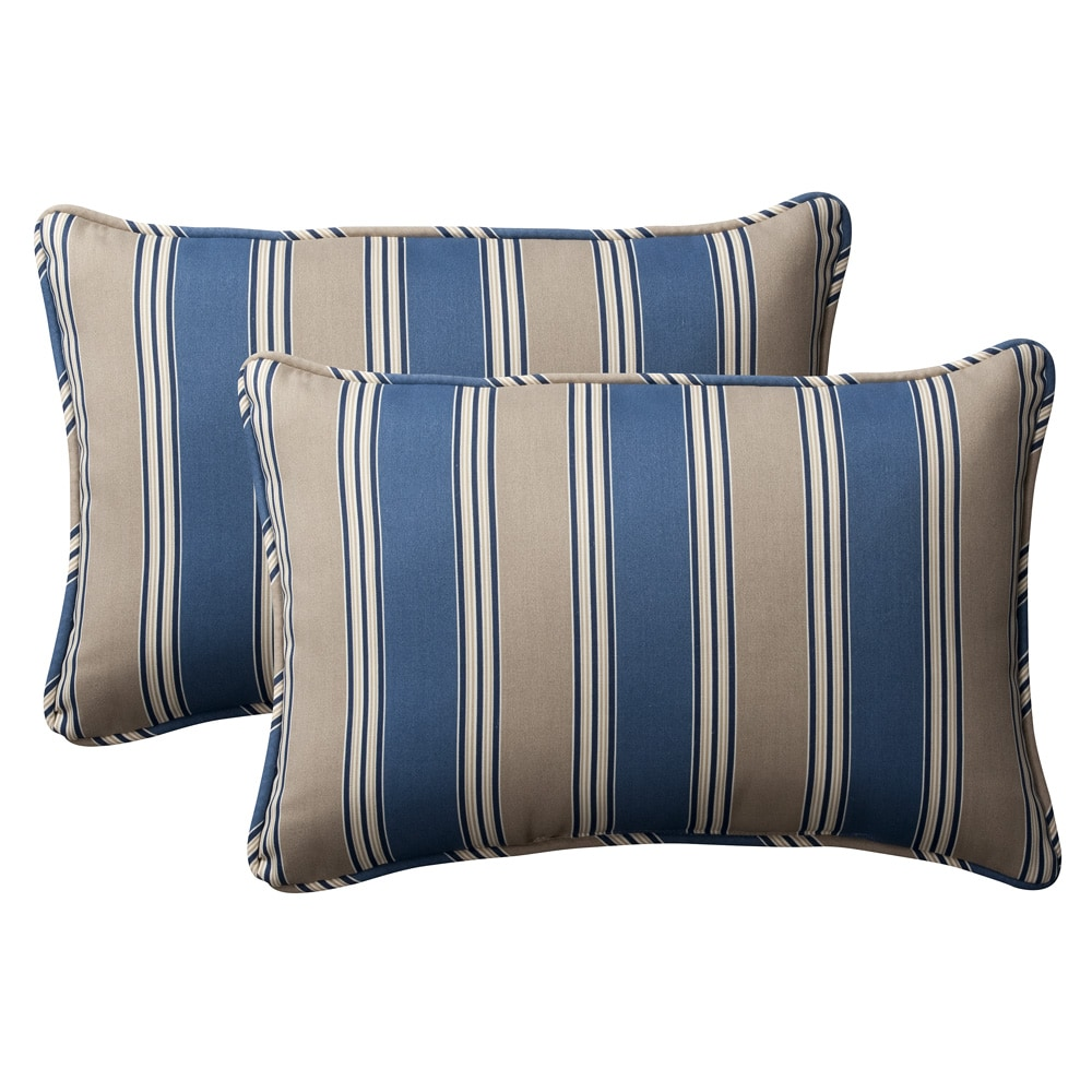 Pillow Perfect Decorative Blue Tan Striped Outdoor Toss