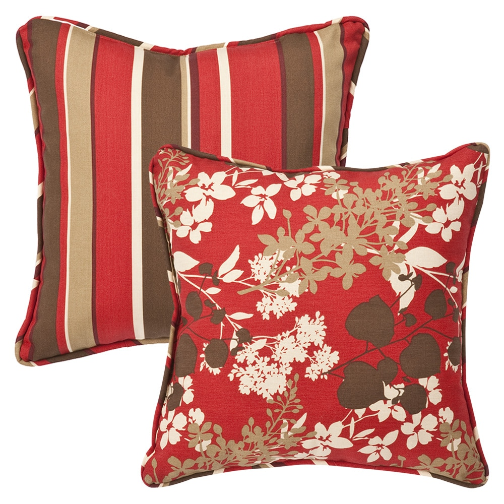 Pillow Perfect Outdoor Red Brown Floral Stripe Toss