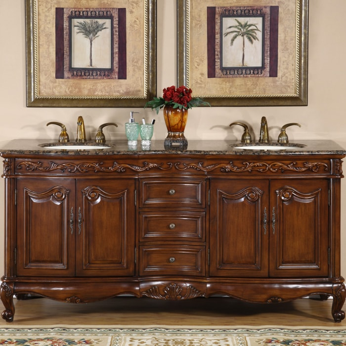 90 Inch Double Sink Bathroom Vanity: Silkroad Exclusive Stone Counter Top Double Sink Cabinet