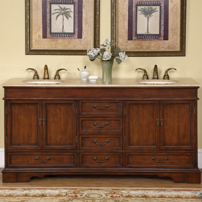 Silkroad exclusive natural stone top sink cabinet 72 inch - 72 inch bathroom vanity double sink ...