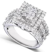 Annello by Kobelli 14k White Gold 2ct TDW Princess Diamond Square Frame Cluster Composite Ring (H-I, I2-I3)