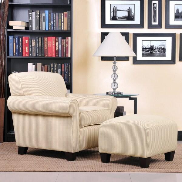 Portfolio Mira Sand Stripe Transitional Arm Chair And