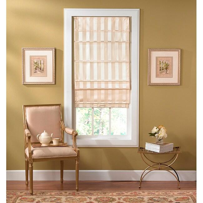 Cordless Off White Striped Fabric Roman Shade 13939134
