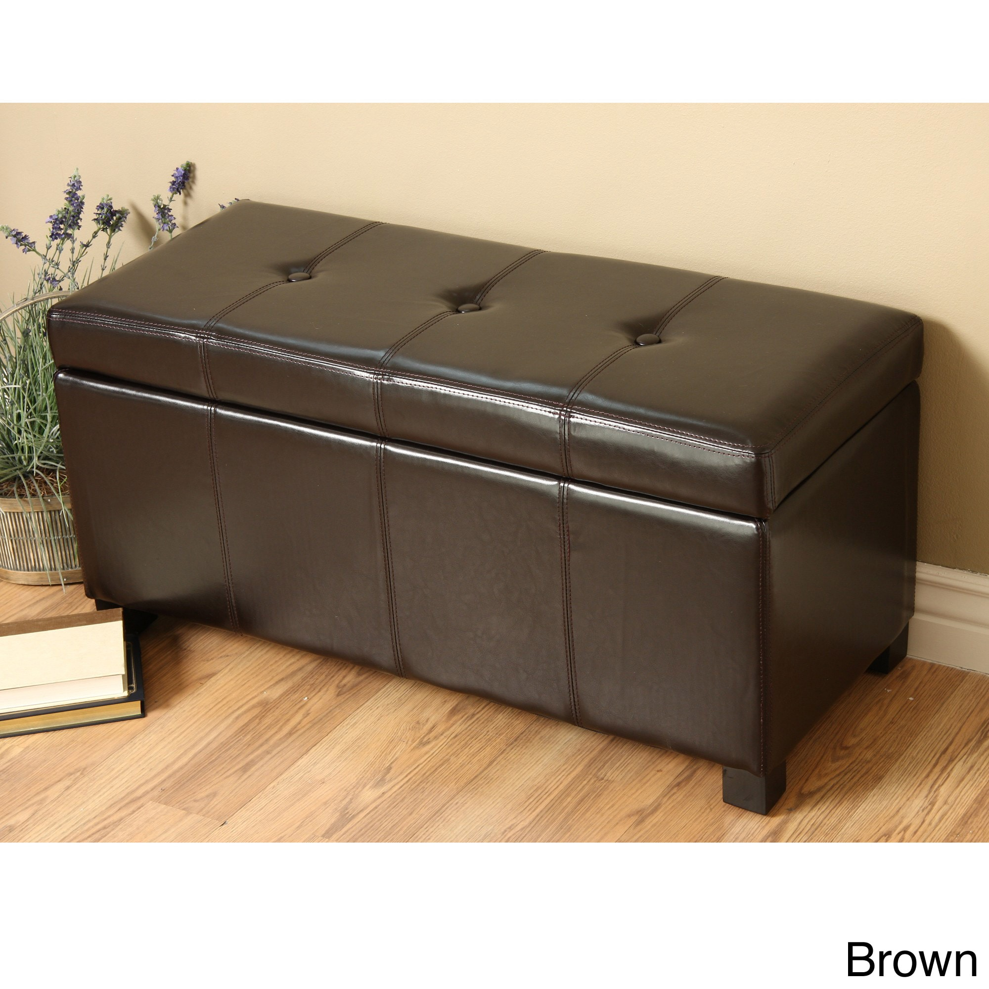 New Modern Faux Leather Storage Bench Living Room Accent