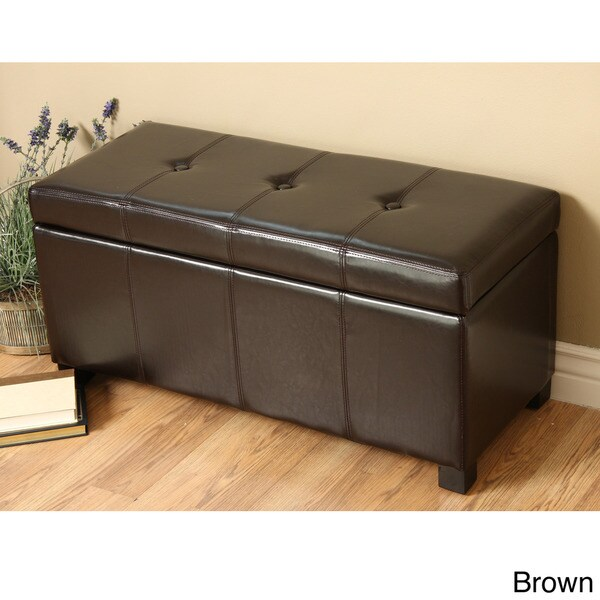 Storage Benches And Ottomans: Faux Leather Ottoman Seat Storage Bench Bedroom Living