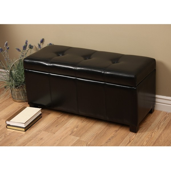 Warehouse Of Tiffany Ariel Black Faux Leather Storage