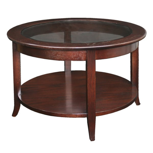 Solid Oak Chocolate Bronze Round Coffee Table 13945483