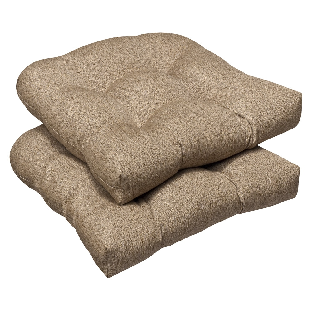 Pillow Perfect Outdoor Tan Textured Wicker Seat Cushions