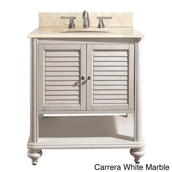 Avanity tropica 30 inch single vanity in antique white - 30 inch white bathroom vanity with sink ...
