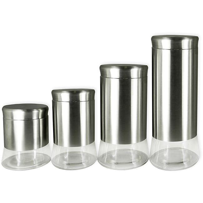 stainless steel and glass 4 piece canister set 13952556 shopping top rated. Black Bedroom Furniture Sets. Home Design Ideas