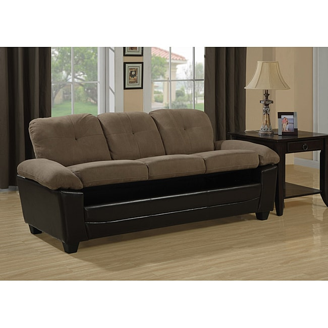 Brown Microfiber Leather Look Sofa With Storage