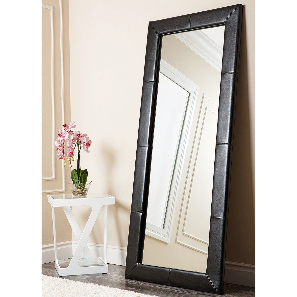 Overstock Mirrors: ABBYSON LIVING Delano Black Leather Floor Mirror