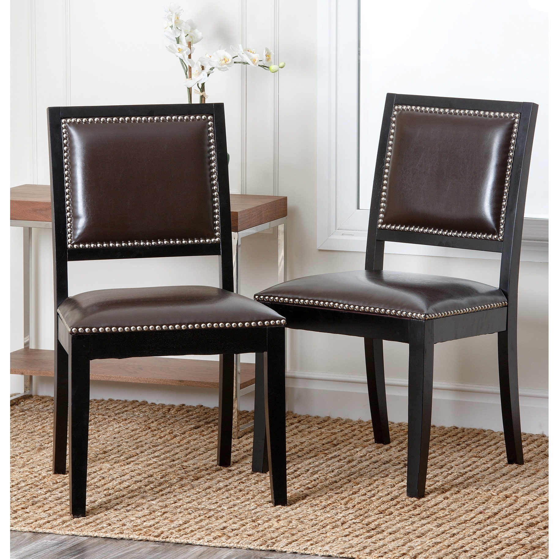 Enjoyable Abbyson Living Monaco Brown Bicast Leather Dining Chairs Ibusinesslaw Wood Chair Design Ideas Ibusinesslaworg