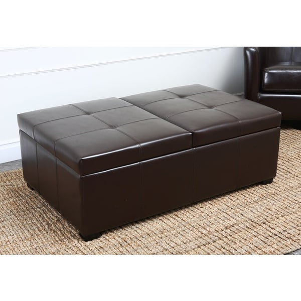 Ottomans Brussels Brown Bonded Leather Storage Chest: Angelohome Kent Milk Chocolate Brown Renu Leather Wall