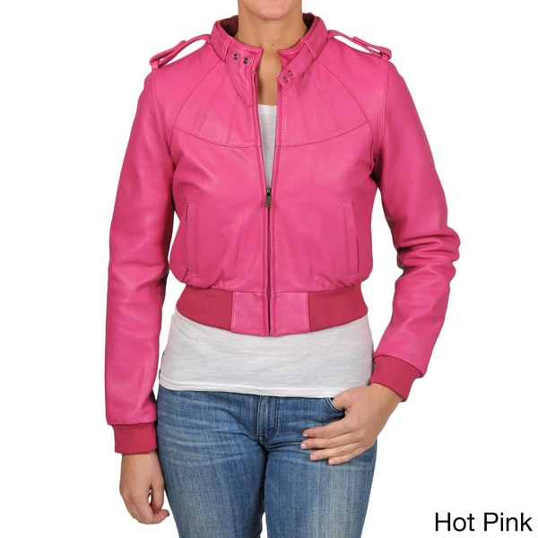 1a7e70a167087 Knoles   Carter Womens Plus Size Bomber Leather Jacket on PopScreen