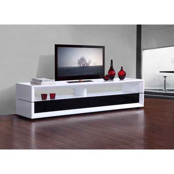 mogul white black two drawer modern tv stand 13959293 shopping great deals. Black Bedroom Furniture Sets. Home Design Ideas