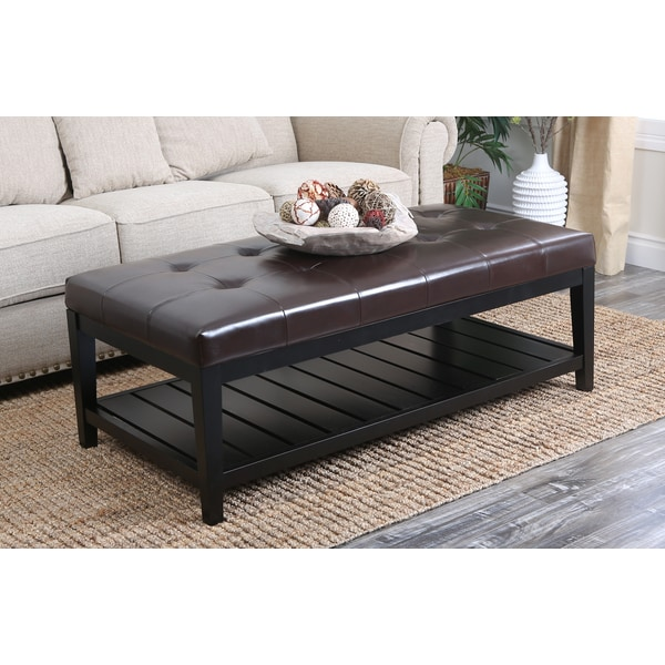 Abbyson Living Manchester Tufted Leather Coffee Table
