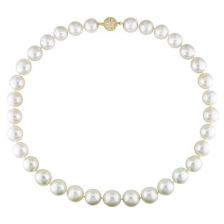 Miadora Signature Collection 14k Yellow Gold Graduated Pearl 1ct TDW Diamond Necklace (12-14 mm)(G-H, I1) - White - 12-14 mm
