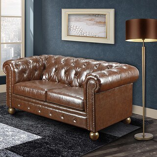 Hancock Tufted Distressed Brown Leather Chesterfield