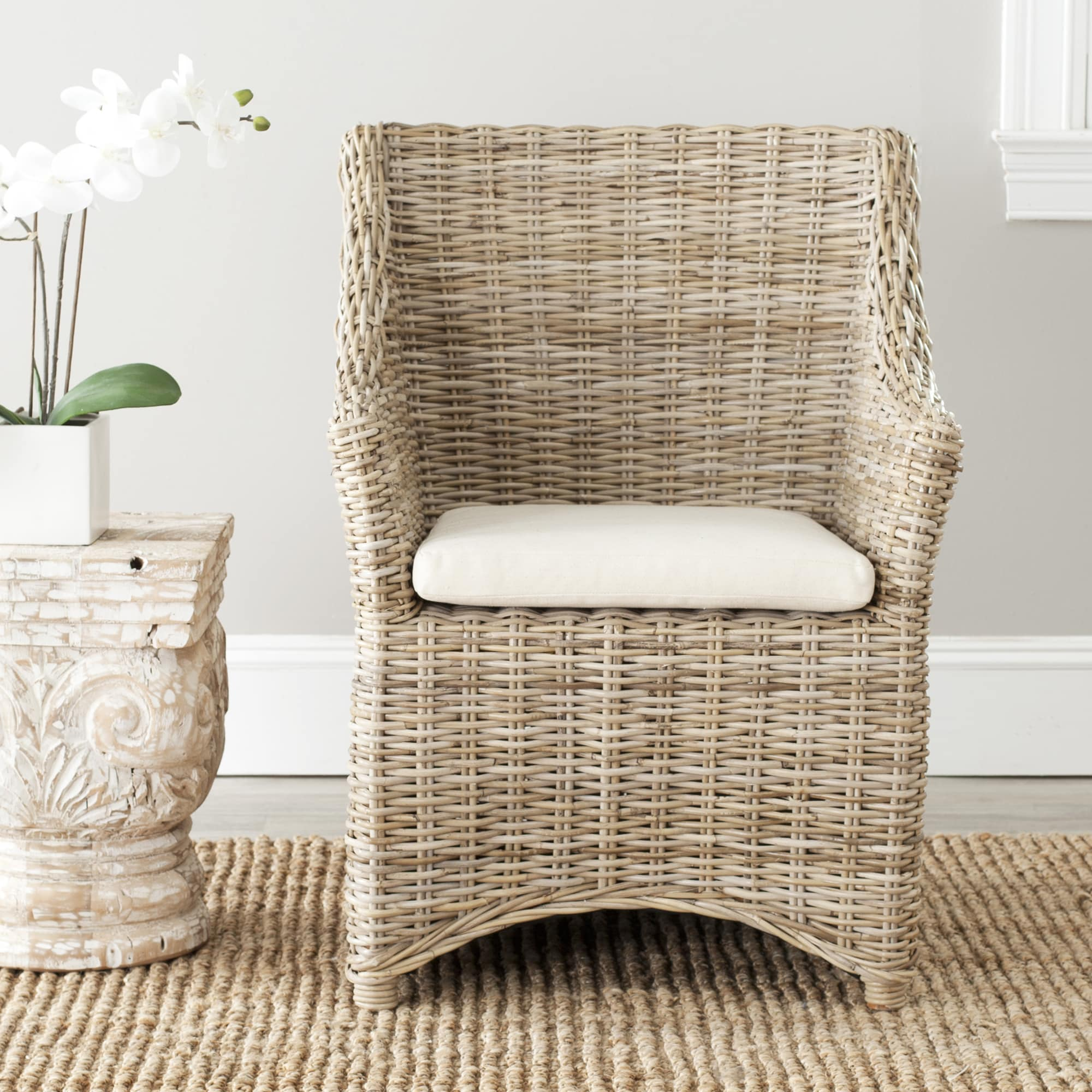Cheap Wicker Chair: Safavieh St Thomas Indoor Wicker Washed-out Brown Wing