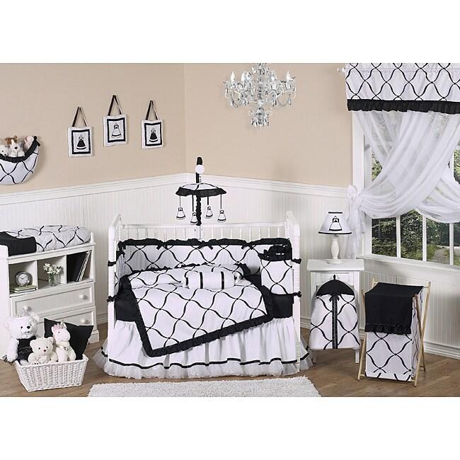 sweet jojo designs black and white princess 9 piece crib bedding set. Black Bedroom Furniture Sets. Home Design Ideas