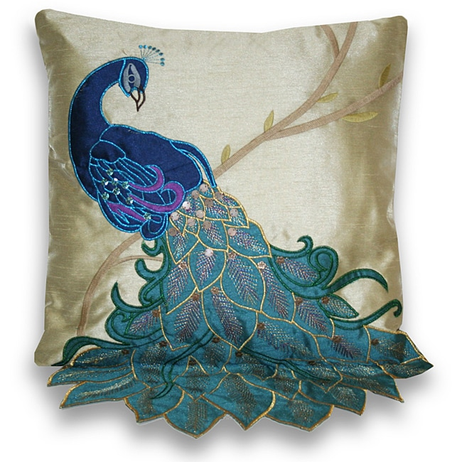 Fancy peacock multicolor 16 inch faux silk accent throw pillow l13970475