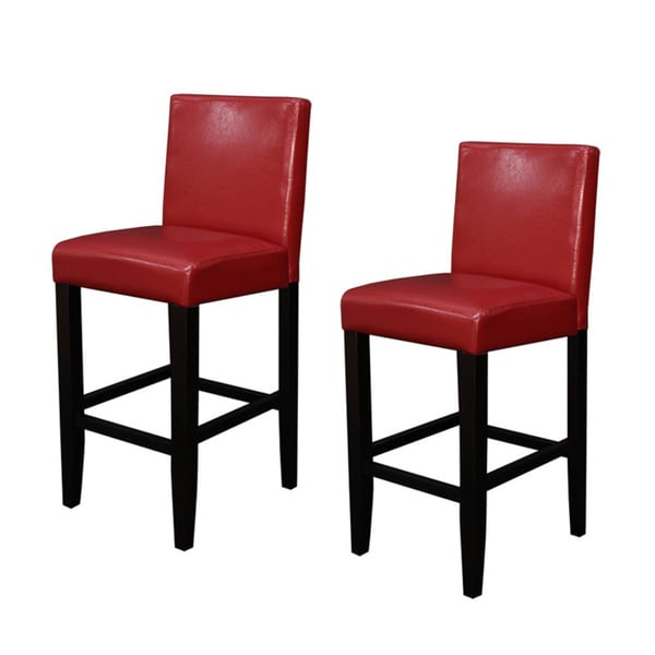 Red Stools For Kitchen: Faux Leather Red Counter Stools Set Of 2 Dining Room Bar