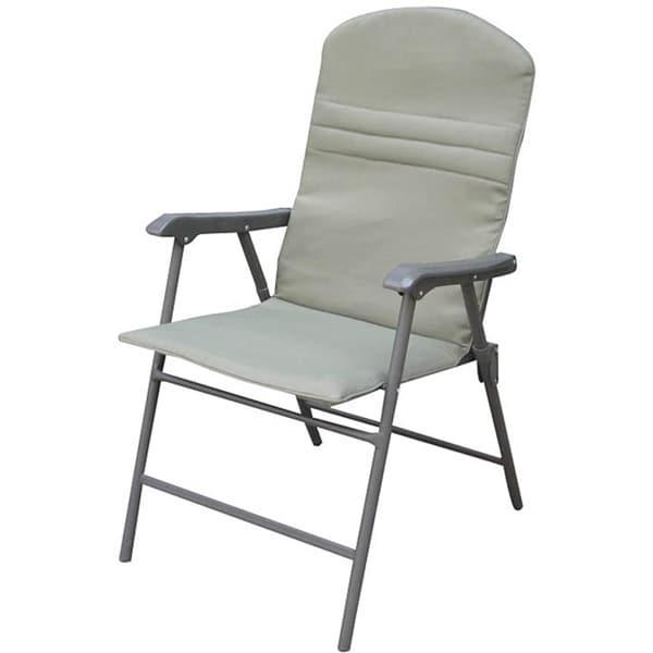 Khaki Padded Outdoor Patio Folding Chairs Set Of 4