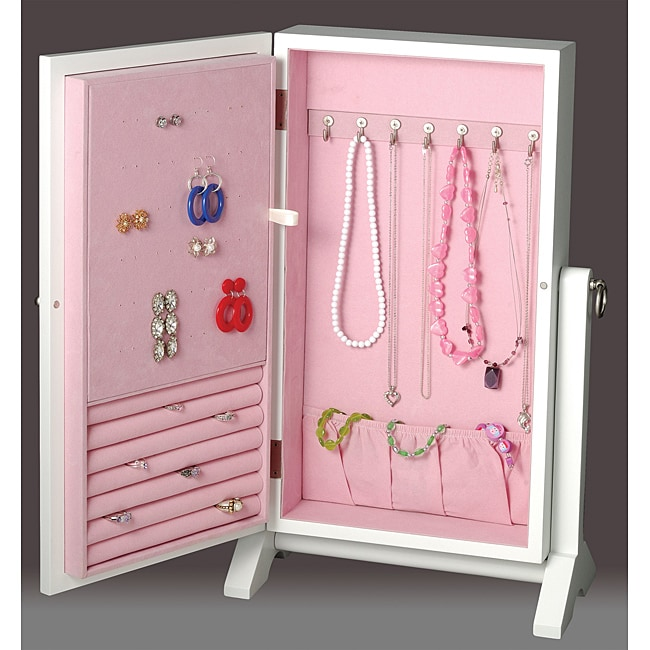 Pink Storage Bins Girls Flower Drawers Chest Dresser: White And Pink Girls Jewelry Box Wall Mount Armoire