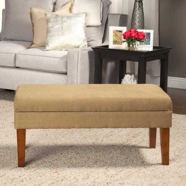 Homepop Decorative Storage Bench Textured Tan With Gold