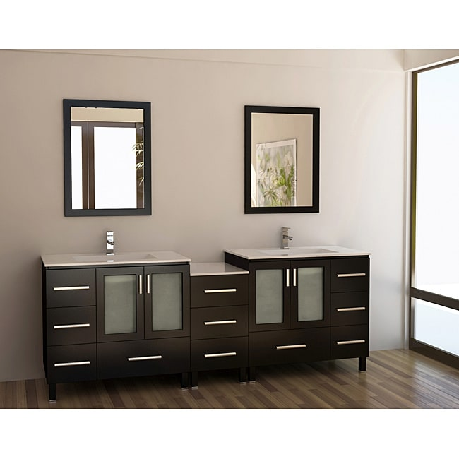 90 Inch Double Sink Bathroom Vanity: Design Element Galatian 88-inch Espresso Double Sink