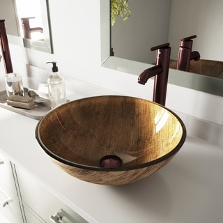 Rectangle Copper Tempered Glass Vessel Sink 15562113