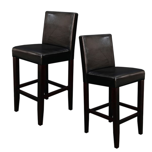 Villa Faux Leather Black Counter Stools Set Of 2