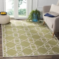 Safavieh Hand-woven Moroccan Reversible Dhurrie Green/ Ivory Wool Rug - 10' x 14'