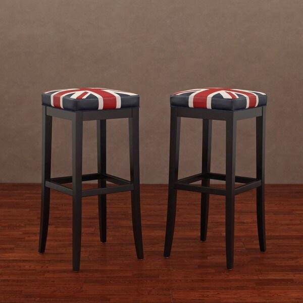 Kari Union Jack Leather Barstools Set Of 2 13992912