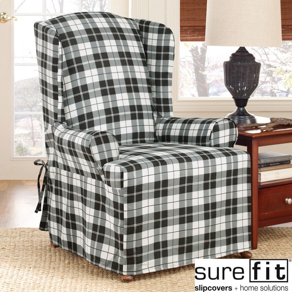 Sure Fit Soft Suede Plaid Wing Chair Slipcover 13993285