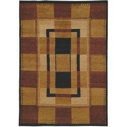 Safavieh Hand-knotted Selaro Grids Brown/ Black Wool Rug - 6' x 9' - Thumbnail 0