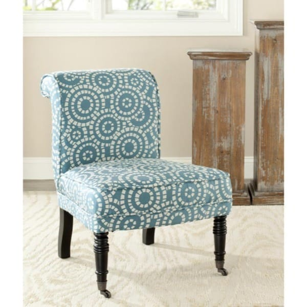 Safavieh Mosaic Blue White Polyester Fabric Chair