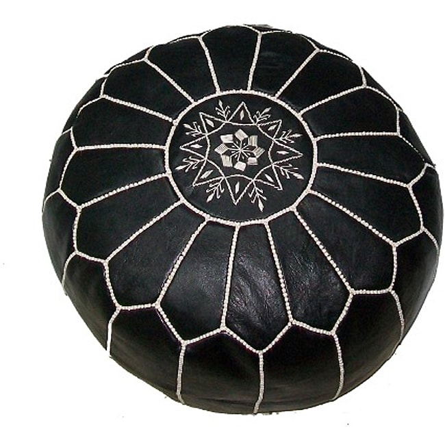 Black Leather Ottoman White Hand Stitched Morocco