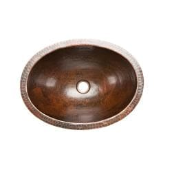 Premier Copper Products Oval Undercounter Hammered Copper