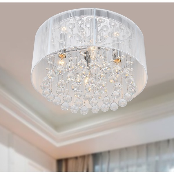 Overstock Lighting: Flushmount 4-light Chrome And White Crystal Chandelier
