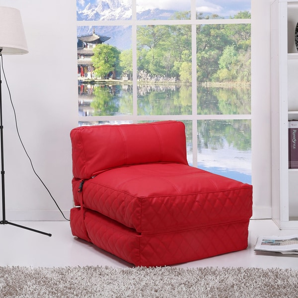 Austin Red Bean Bag Chair Bed 14015013 Overstock Com