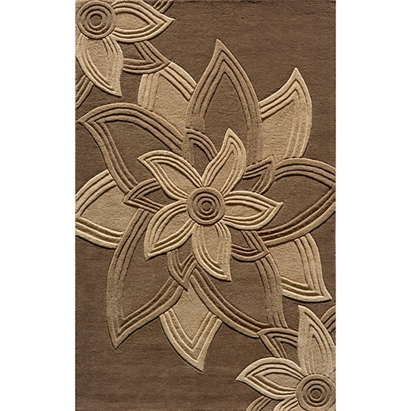 Lotus Mocha Hand Tufted Wool Rug 5 X 8