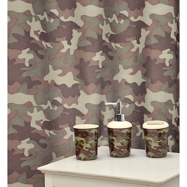 Camo Bathroom Rugs: 'Camouflage Khaki' Shower Curtain & Bath Accessory 16