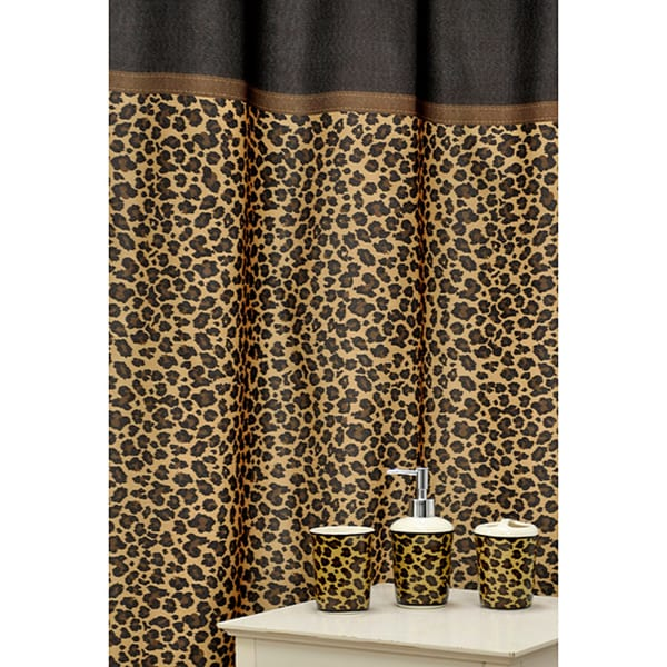 Leopard Brown Shower Curtain And Ceramic Bath Accessory 16