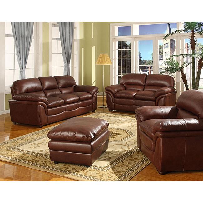 Redding Cognac 2 Piece Brown Leather Modern Sofa Set