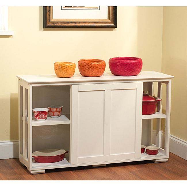 Kitchen Cabinets Sliding Doors: Simple Living Antique White Sliding Door Stackable Cabinet