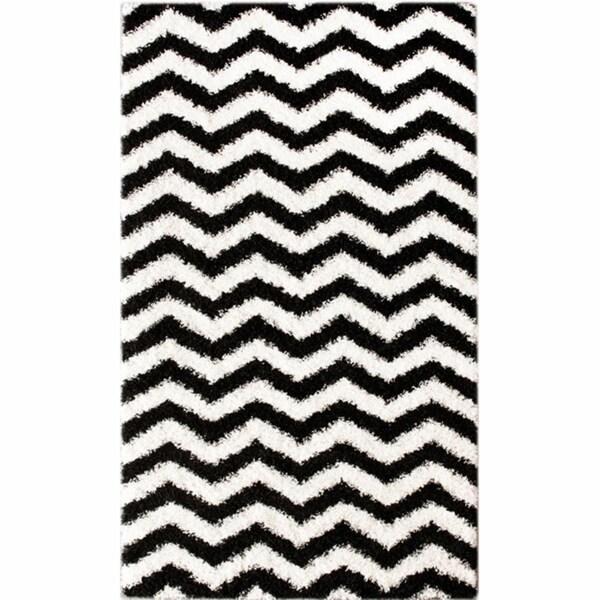 Black And White Chevron Bathroom Rug: NuLOOM Luna Black And White Chevron Shag Rug (8' X 10