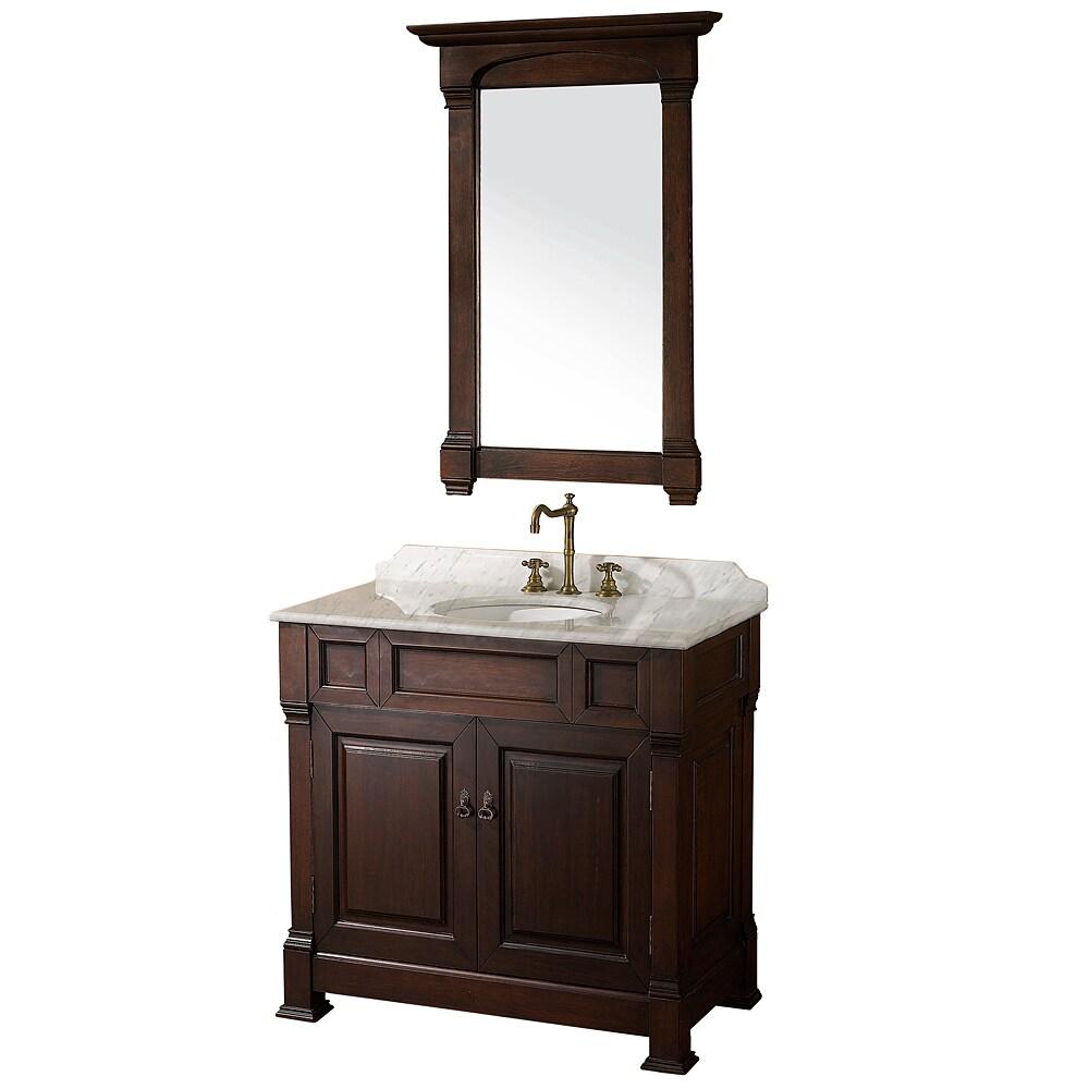 Wyndham collection andover dark cherry 36 inch solid oak - Bathroom vanity cabinet 36 inches ...