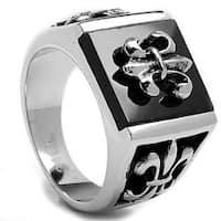 Oliveti Stainless Steel Men's Onyx Fleur de Lis Ring